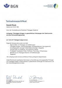 Zertifikat Lehrgang Flüssiggasanlagen in Fahrzeugen der Gastronomie