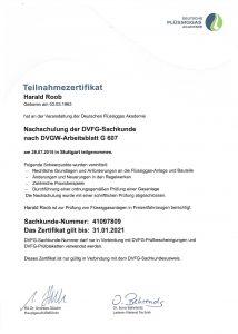 Zertifikat über die Nachschulung DVFG-Sachkunde
