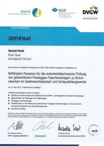 Zertifikat sicherheitstechnische Prüfung Gastronomiebereich