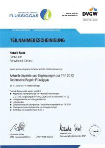 Teilnahmebescheinigung Technische Regeln Flüssiggas
