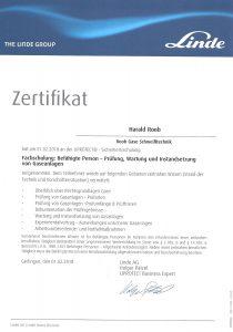 Zertifikat Prüfung, Wartung und Instandsetzung von Gaseanlagen